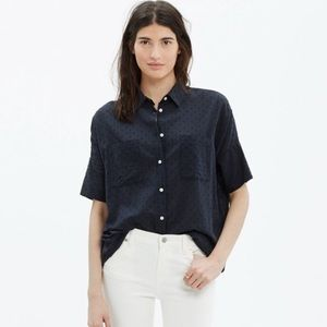 Madewell clipdot navy shirt boyfriend fit large